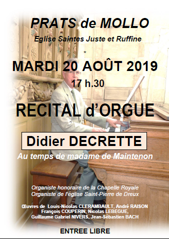 Concert d'orgues Didier Decrette