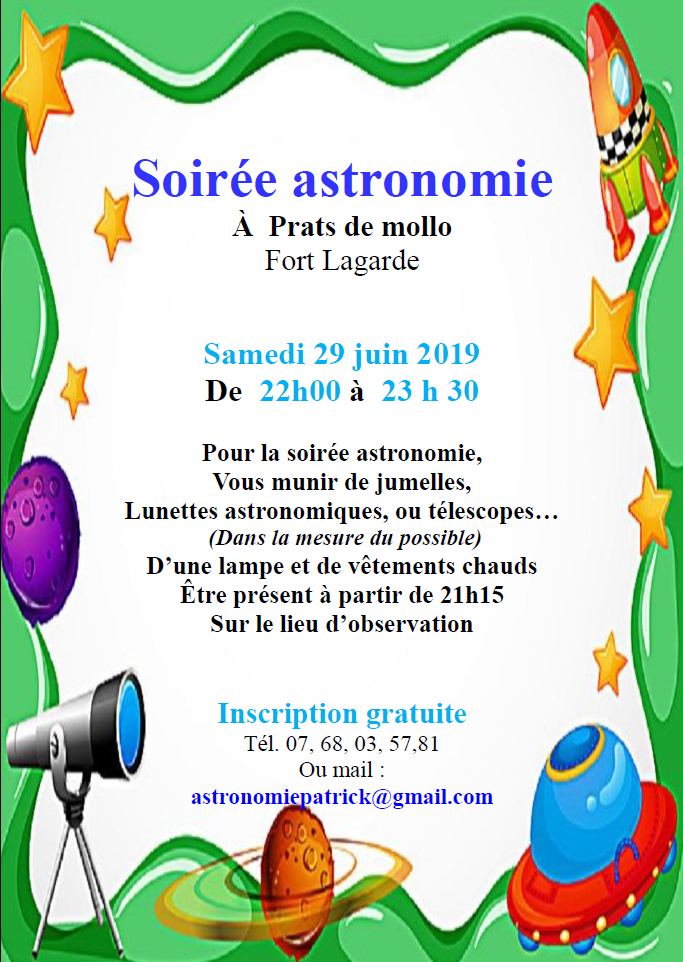 Soirée astronomie au Fort Lagarde